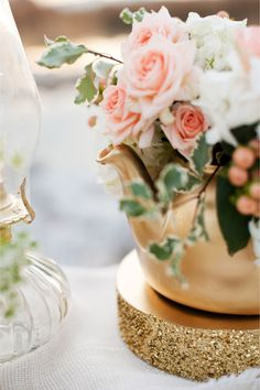 Garden roses in a gold teapot | Kristina Curtis Photography | See more on http://burnettsboards.com/2014/01/mother-daughter-inspiration-shoot/
