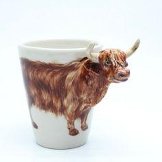 Cow Highland Scottish Mug 0003 Stoneware Clay Original Handmade ...