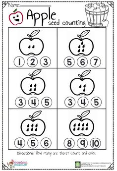 Counting Worksheets For Kindergarten, Apple Activities, Numbers Preschool, Preschool Learning Activities, Preschool Lessons, Preschool Math, Worksheets For Kids, Counting Activities, Apple Seeds