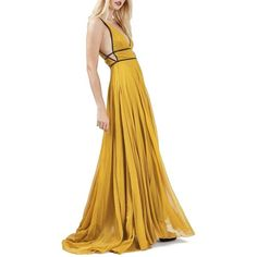 Women's Topshop Beaded Maxi Dress (€225) ❤ liked on Polyvore featuring dresses, mustard, white beaded dress, mustard maxi dress, deep v neck maxi dress, low v neck dress and maxi dresses