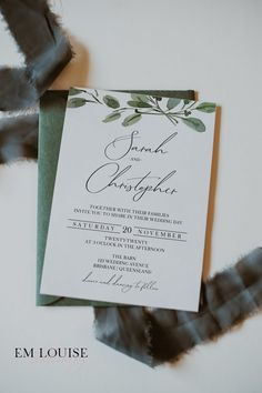 If you are looking for beautiful (and affordable) wedding stationery to compliment your special day, then this Greenery Wedding Invitation Template is bound to put a big smile on your dial!Super easy to edit, download and print Em Louise Stationery templates don't sacrifice quality for price because EVERYONE deserves beautiful wedding stationery, no matter the budget! Click through to view the entire OLIVE Collection! #greenerywedding #diyweddinginvitations #budgetwedding #weddinginvite