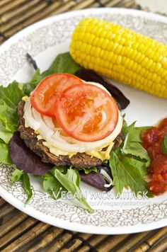 Black Bean Party Burgers  Easy-to-make Black Bean Party Burgers that create a party on your plate!  Get this recipe now at Vegan Yack Attack!