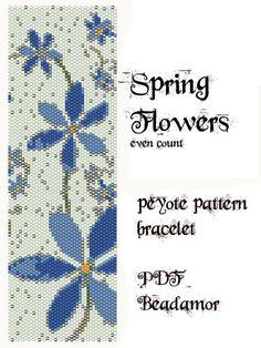 Peyote Pattern for bracelet: Spring Flowers INSTANT DOWNLOAD