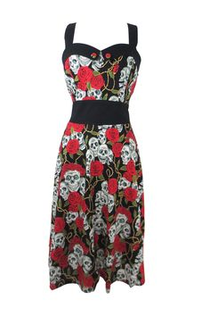 Show off your body in this sexy rockabilly style Rose and Skulls Dress! This stunner is made out of a stretch cotton fabric and features amazing print of all over roses, skulls and vines. The rockabil