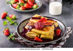 Filled pancakes with strawberries, fresh berries and sauce Waffles, Pancakes, Pancake Maker, Berry Sauce, Strawberries, Fresh, Breakfast, Food, Morning Coffee