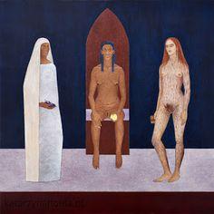 KATARZYNA HOŁDA: TRIANGLE MOON GODDESS:  MOTHER EVE, MARY, MARY MAGDALENE acrylic on canvas, 80cm x 80cm, 2011 katarzynaholda.pl Prints on: http://www.saatchiart.com/katarzynaholda