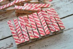 Image of Candy Cane Clothespins
