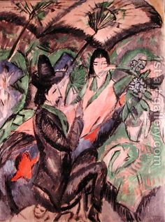 Couple Under a Japanese Umbrella Painting by Ernst Ludwig Kirchner Reproduction Post Impressionism Art, Umbrella Painting, Ernst Ludwig Kirchner, Most Famous Paintings, Alberto Giacometti, Art Friend, Oil Painting Reproductions, Illustrations, Dresden