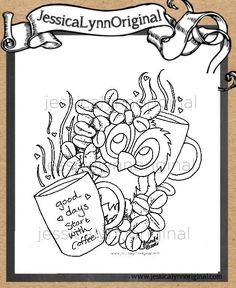 Limited Edition Instant Download - JessicaLynnOriginal.com's Brentwood Owl© good days start with coffee Digital Rubber Stamp