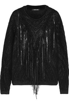 Roberto CavalliLeather-fringed knitted coated cotton-blend sweaterfront