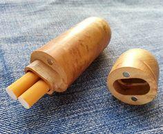 Personalizado Premium oro Silkwood Burl cigarrillo tubo, CNC Uni-cuerpo, tapa desmontable y cierre de imán