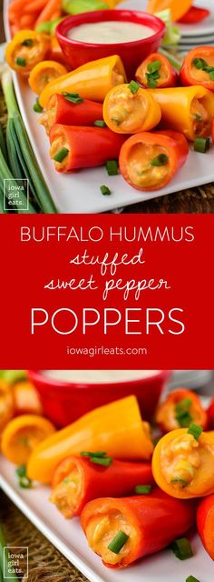 Buffalo Hummus Stuffed Sweet Pepper Poppers are a healthy, gluten-free appetizer to include in your next party or tailgating spread. Fun and poppable!  | iowagirleats.com