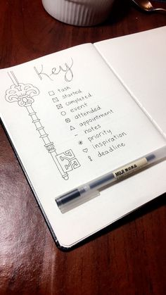 "Here is the ""Key"" page I created for my brand new bullet journal! I hope people like the design. Pin a picture of yours if you recreate it!"