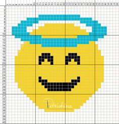 emoticons angel - emoticons faccia d'angelo - schema punto croce - cross Stitch - Kreuzstich - Punto de Cruz