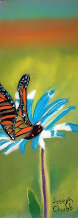 Butterfly on Daisy  Pastel  Artist Joseph Chubb