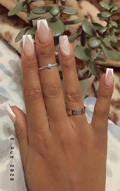 White Tip Acrylic Nails, White Acrylics, White Nails, Short Nail Manicure, Manicures, White Nail Designs, Acrylic Nail Designs, Glam Nails, Nude Nails