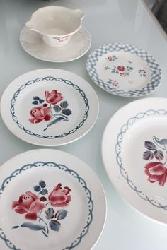 1 Plat + 3 Assiettes plates + 1 saucière anciens - Digoin Sarreguemines, Modèle CANNES et BASTIA, AST160405 de la boutique HasbeenDeco sur Etsy