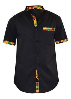 Dami Button-Up African Print Trim Shirt (Yellow Green Kente/Black) African Wear Styles For Men, African Shirts For Men, African Attire For Men, African Tops, African Style, Short African Dresses, Latest African Fashion Dresses, African Print Fashion, Modern African Clothing