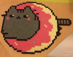 Donut Pusheen cat perler beads by Szilvi