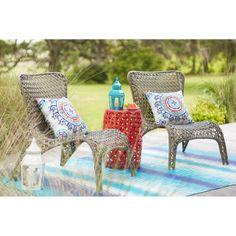Garden Treasures Tucker Bend Black Steel Seat Woven Patio Chair