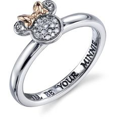 Disney Two-Tone Rose Gold and Silver Minnie Mouse Ring with Diamond Acccents