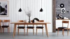Image result for oak dining table oval black chairs vintage