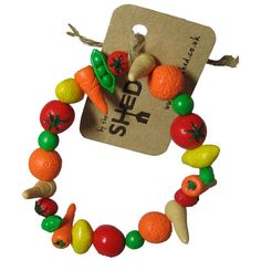 By the Shed Allotment Bracelet - Fruit - Vegetables - Gardening - Gift - Carrot - Tomato - Unique Present - The Good Life - Polymer Clay