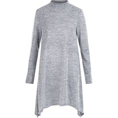 Grey Fine Knit Hanky Hem Swing Dress ($27) ❤ liked on Polyvore featuring dresses, long sleeve swing dress, long-sleeve mini dress, swing dress, longsleeve dress and grey mini dress