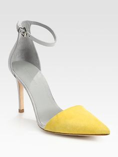 Alexander Wang - Lina Leather and Suede Colorblock Pumps