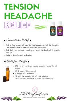 Essential Oils for Headache Relief Soothe your tension headache with essential oils from Young Livin Essential Oils For Migraines, Young Essential Oils, Essential Oil Starter Kit, Essential Oils Guide, Essential Oil Diffuser Blends, Oil For Headache, Tension Headache Relief, Roller Bottle Recipes, Massage