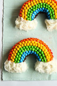 Rainbow M Cake With Fluffy White Clouds