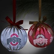 Ohio State Buckeyes 6-Piece LED Boxed Ornament Set - Scarlet/Silver