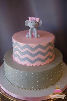 (229) Elephant Baby Girl Shower Cake