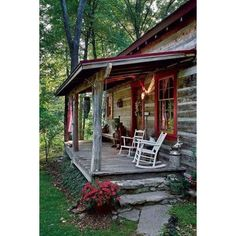 Kentucky Couple Brings Antique Log Cabin Back to Life Cabin Obsession ❤ liked on Polyvore featuring home, home decor and antique home decor