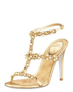 T-Strap Beaded Sandal by Renee Caovilla at Bergdorf Goodman.