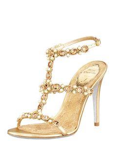 T-Strap Beaded Sandal by Renee Caovilla at Bergdorf Goodman.