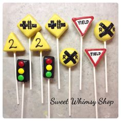 10 Railroad Sign Cake Pops for train by SweetWhimsyShop on Etsy