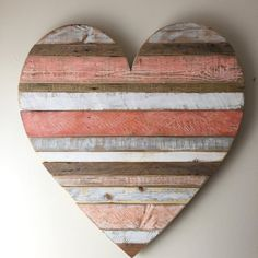 Rustic reclaimed Large Coral heart heart vintage by AlmaBoheme