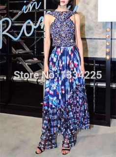 Runway Maxi Dress 2016 Summer Beading Sleeveless Women Long Dress * Details can be found by clicking on the image.