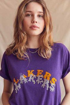 b93385fe1bfb UO Design X Urban Renewal Beaded Lakers Tee Animal Print Tees