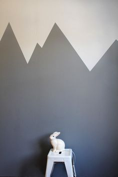 Syrinveien Kids room with gray walls, painted mountain range Room Wall Painting, Kids Room Paint, Toddler Rooms, Mountain Paintings, Kid Spaces, Boy Room, Kids Bedroom, Lounge, Wall Decor