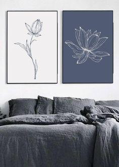 Bedroom Wall Art 2 Piece Minimalist Flower Print Blue Wall   Etsy