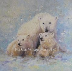 Mother Bear and Cubs Original Oil Painting by VickieWadeFineArt