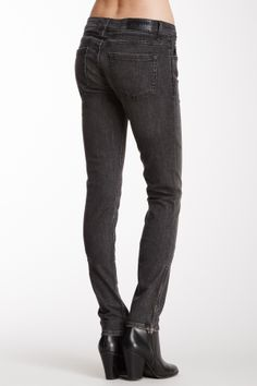 "Junkie Fit Silver Fox Wash Stretch Denim Skinny Jean in grey by Kill City $120 - $25 @HauteLook. [back] - Zip fly with button front closure - 5 pocket construction - Zipper details at side seams near hemline - 8"" front rise, 34"" inseam. Model's stats: - Height: 5' 9""  - Waist: 24""  - Hips: 35"". Model is wearing size 26. Machine wash. 98% cotton, 2% spandex."