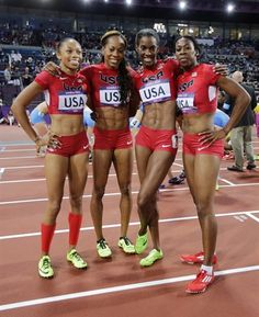 From left, United States' Allyson Felix, United States' Sanya Richards-Ross, United States' Deedee Trotter and United States' Francena McCorory.