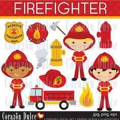 FIREFGHTER Digital Clip Art Set  Personal and by corazondulce, $5.50