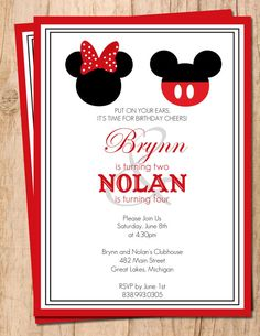Mickey Mouse . Minnie Mouse . Red and Black .  Printable Birthday Invitation