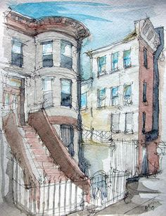 We had some great weather here for 4 straight days. This was the first sketch of the weekend. Pen And Wash, Urban Sketchers, Whistler, Art Journal Inspiration, Fashion Sketches, Arm Tattoo, Art Reference, Brooklyn, Artsy