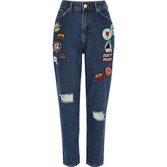 Dark blue wash badge Mom jeans £48.00