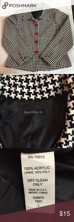 bentley a. Black/White Houndstooth Blazer Size L Back and white houndstooth blazer from bentley a. In a ladies' size large.  It has large  red and black buttons down the front.  It is 100% acrylic.  Dry clean only.  Shoulder to hem is 23 inches.  Underarm to underarm is 21 inches.  Underarm to end of sleeve is 16 inches.  No pockets - decorative flaps only in the front. bentley a. Jackets & Coats Blazers